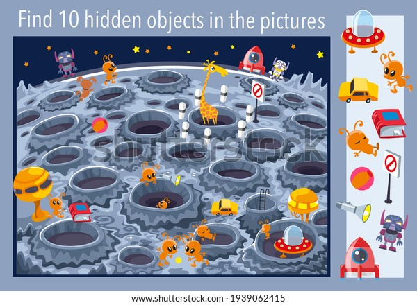 On the Moon. Find 10 objects in the picture. Vector illustration, full color.