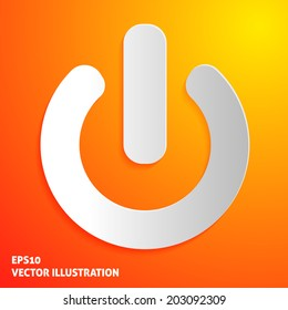 On off icon on orange background. Vector illustration