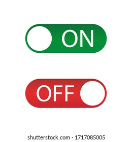 On off icon , red and green switch. Vector illustration.Flat