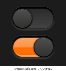On and Off icons. Black toggle switch interface buttons. Vector 3d illustration