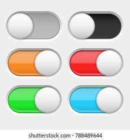 On and Off long oval icons. Gray and colored switch interface buttons. Vector 3d illustration