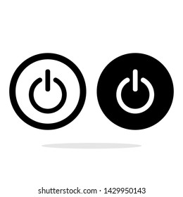 On, off power icon. Energy switch symbol. Flat web button with icon on white background. Gray round pressbutton vctor icon illustration