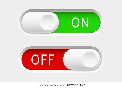 On and Off slider buttons. Red and green switch interface buttons. Vector 3d illustration