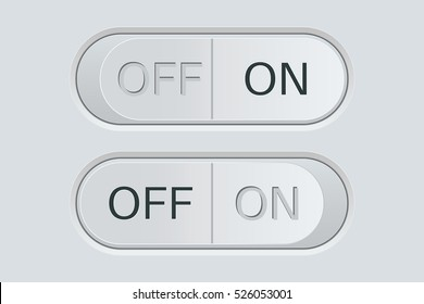 On and Off switch buttons. Light gray. Vector illustration