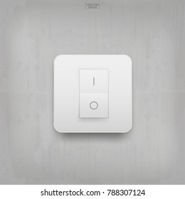 """On"" and ""Off"" switch. Light switch on gray concrete wall texture background. Vector illustration."