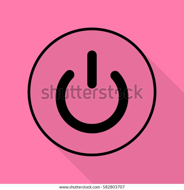 On Off switch sign. Black icon with flat style shadow path on pink background.