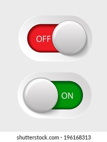 on - off switches, white with 3d effect, with red and green background, vector illustration, eps 10 with transparency