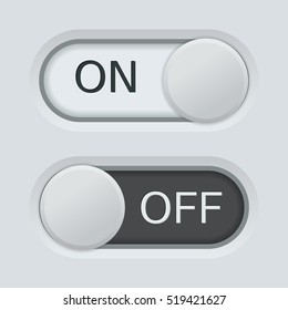 On and off toggle slider. White and black. Vector illustration