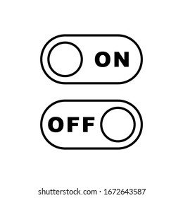 On and off toggle switch button, line icon set, black isolated on white background, vector illustration.