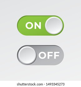 On and Off Toggle Switch Buttons with Lettering Modern Devices User Interface Mockup or Template - Green and Grey on White Background - Vector Gradient Graphic Design