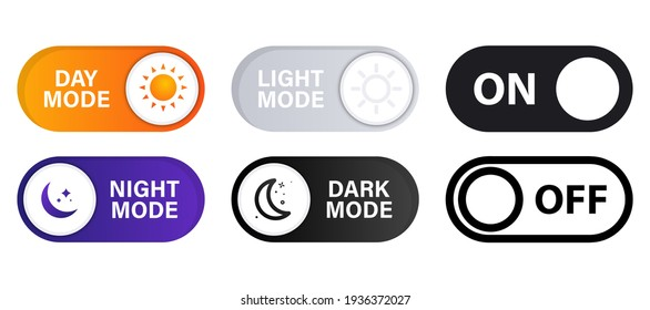 On and Off toggle switch buttons. Light and Dark Buttons. Day night switch. Gadget interface switch to Day and Night mode for Mobile App, Web Design, Animation. Day and Night Mode. Dark mode switch