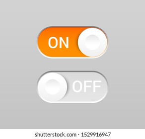 On and Off toggles concept with switch buttons and inscriptions in realistic style. Isolated vector illustration