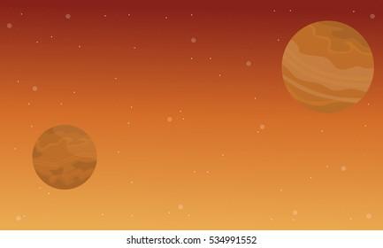 On orange background space landscape