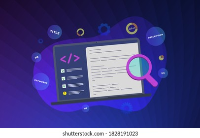 On page SEO flat vector modern illustration. Website On-Page SEO Search Engine Optimization concept. Web site development for better ranking in search engines. Fixing the Title, description, keywords