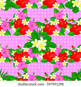 On a pink backgroundVC seamless background pattern with tropical leaves and flowers on a pink background.