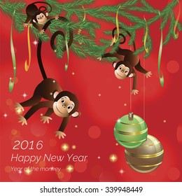On a red background hanging on fir-tree branches monkeys Happy New Year at the bottom.  Vector illustration