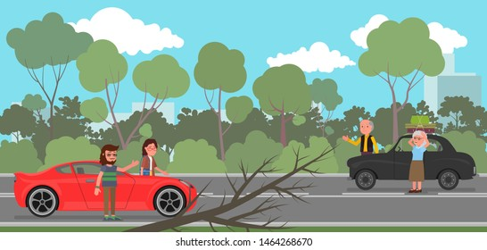 On the road there was a traffic jam due to a fallen tree. Vector illustration, flat design style.