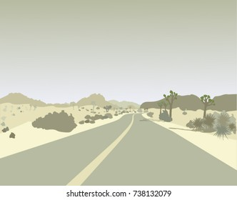 On the road through Joshua Tree national park landscape illustration