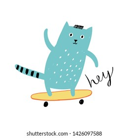 Сat on a skateboard. Concept for children print.