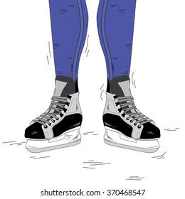 on skates