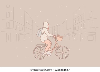 On a snowy day A girl riding a bicycle on a street. hand drawn style vector design illustrations.