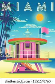 On a sunny day on a beach in Miami with a rescue tower in the foreground, hotels, palms and the sea in the background. Handmade drawing vector illustration. Art deco style poster.