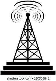 On this illustration a tower is represented radio with radio waves.