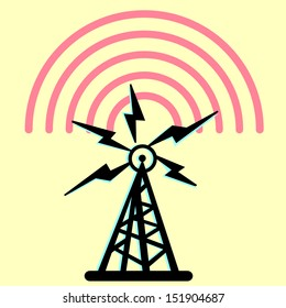 On this illustration a tower is represented radio with radio
