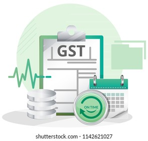 On Time GST Return Filing - Abstract - Illustration as EPS 10 File