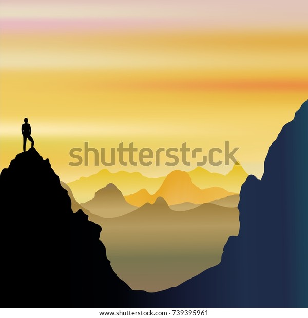 On Top of the World - Lonely Man on Mountains Landscape