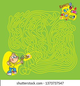 On vector illustration maze puzzle in which a boy bully shoots a slingshot at the tins