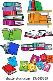 on vector illustration shows some types of books. Objects isolated on a white background, on separate layers, in a cartoon style.