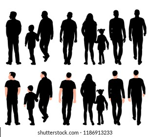 on white background, black silhouette set of walking people