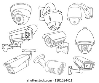 cctv camera doodle stock vectors images vector art shutterstock Walmart Laptops on white background set of sketch camera cctv