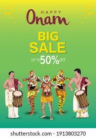 Onam Big Sale Poster Or Banner design with chenda melam and pulikali. vector illustration