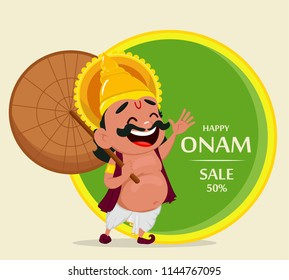 Onam celebration. King Mahabali holding umbrella, cheerful cartoon character. Happy Onam festival in Kerala. Vector illustration for sale