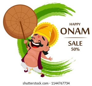 Onam celebration. King Mahabali holding umbrella, cheerful cartoon character. Happy Onam festival in Kerala. Vector illustration for sale on abstract background