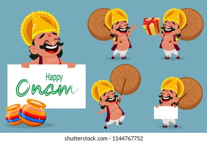 Onam celebration. King Mahabali holding umbrella, set of five poses. Happy Onam festival in Kerala. Vector illustration