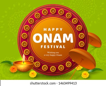 Onam festival background for South India Kerala traditional celebration. Onam Kathakali dancer with umbrella. Vector illustration.