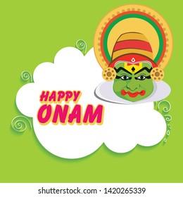 Onam greeting, Kathakali Mask, Kerala