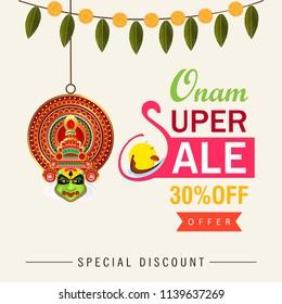Onam Super Sale Banner Design with Beautiful Kathakali Dancer Face.