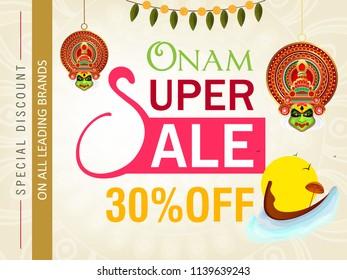 Onam Super Sale Banner Design, 30% Off Flyer.