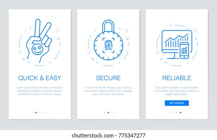 Onboarding app screens  Modern and simplified vector illustration walkthrough screens. UI template for mobile apps, smart phone or web site banners.