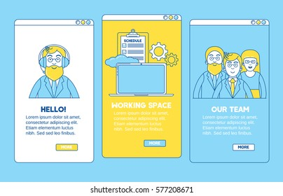 Onboarding application line design. Introducing, meeting with a team, new working space.