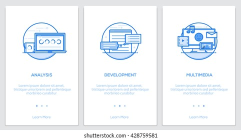 Onboarding Kit. Modern user interface UX, UI screen template for mobile smart phone or responsive web site. Vector Illustration