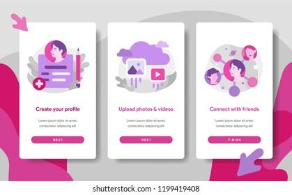 Onboarding screen page template of Social Media Registration Concept. Modern flat design concept of web page design for website and mobile website.Vector illustration
