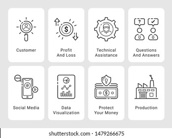 Onboarding Screens Business Related  - Conceptual outline icons collection, vector