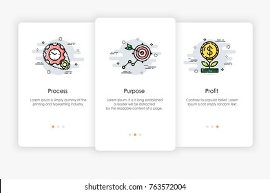 Onboarding screens design in business concept. Modern and simplified vector illustration, Template for mobile apps.