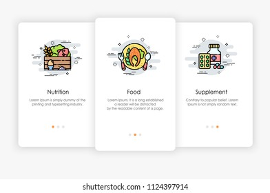 Onboarding screens design in Food concept. Modern and simplified vector illustration, Template for mobile apps.