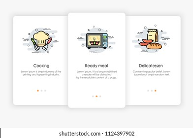 Onboarding screens design in Food and Cooking concept. Modern and simplified vector illustration, Template for mobile apps.